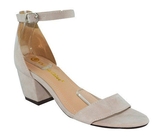 """Adam"" Low Heel Ankle and Toe Strap Sandals - Nude"
