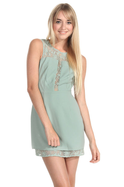Sunday Mint Sleeveless Lace Inset Open Back Dress - Mint