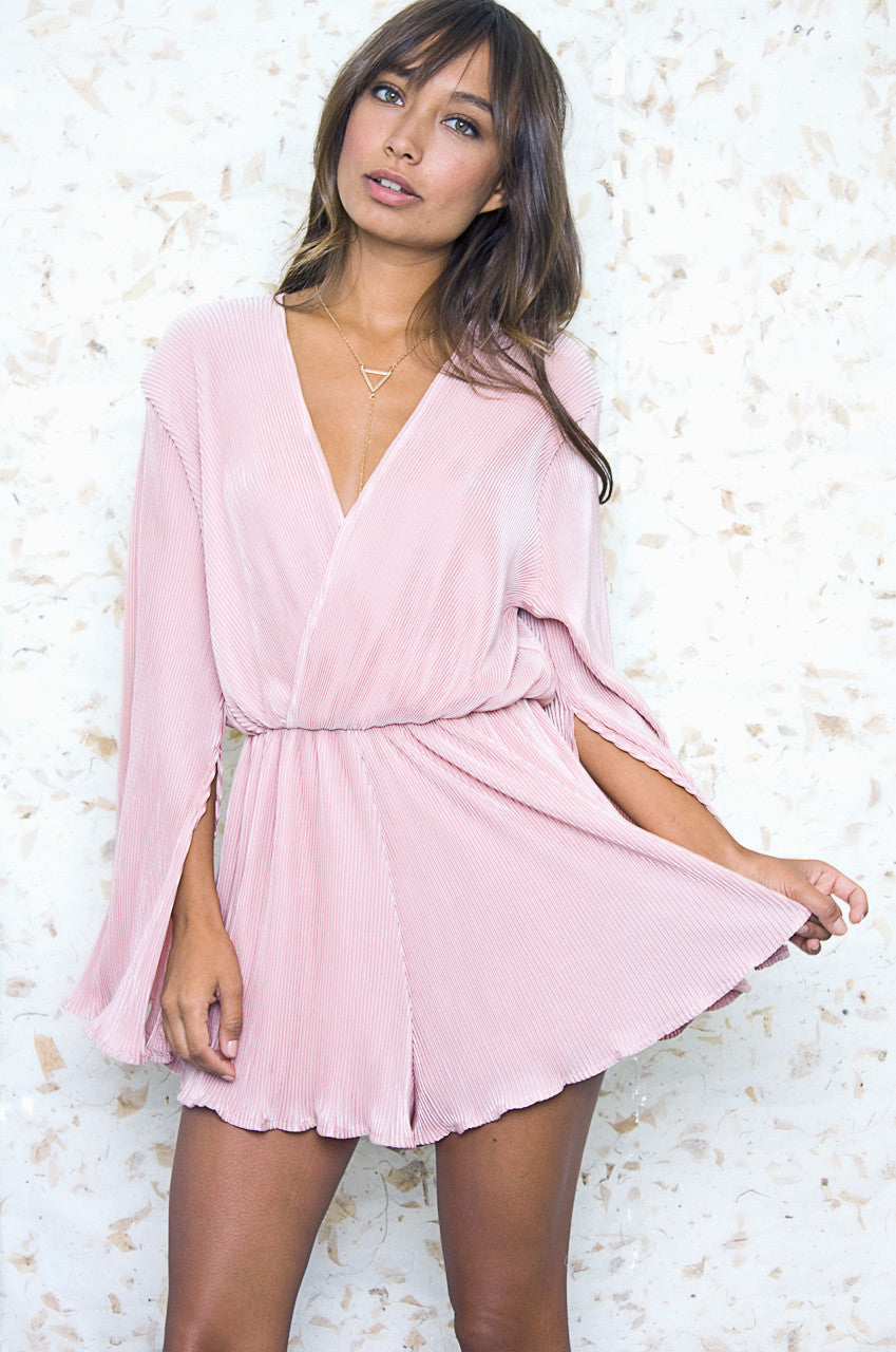 Long Sleeve Pleated Crossover Front Romper - Blush