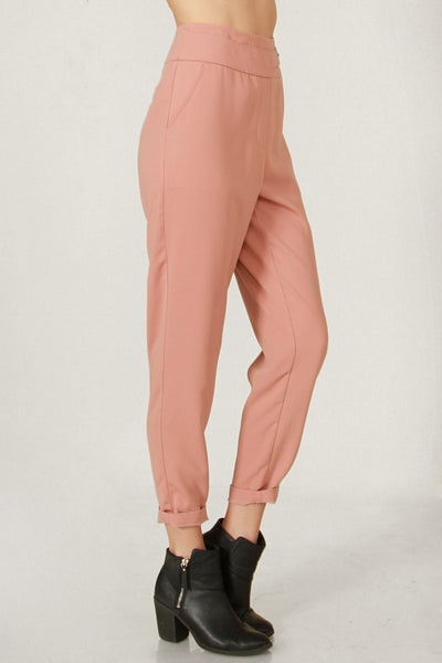 High Waisted Buckle Detail Work Pants - Rose