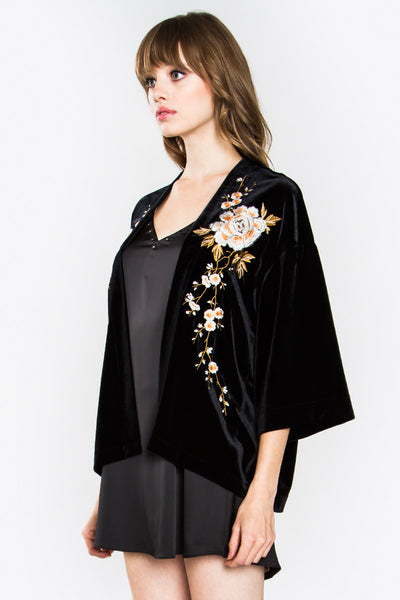 Velvet Smoking Jacket with Floral Embroidery - Black/Multi