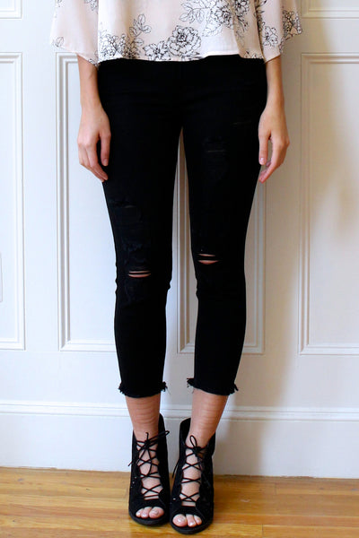 Decklyn Distressed Cropped Skinny Jeans - Black