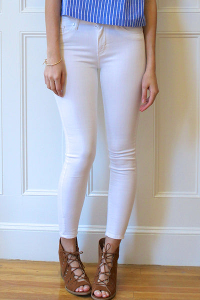 High Rise Stiff Denim Ankle Skinny Jeans - White