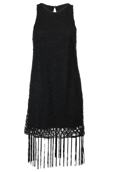 Flapper Swag Fringe and Lace Midi Dress - Black