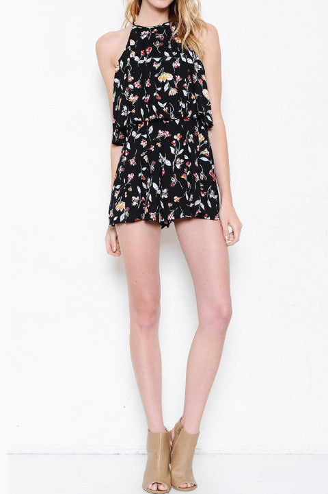 Floral Print High Neck Layered Look Romper - Black/Multi