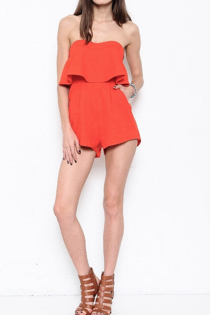 Strapless Layered Top Romper - Red