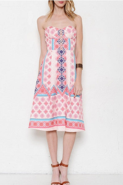 Strapless Geometric Print Lace Up Corset Top Knee Length Dress - Pink/Multi