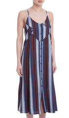 Striped Button Front Midi Dress - Red/Navy