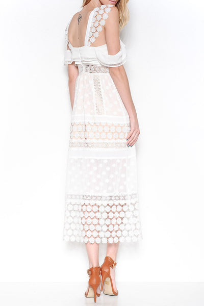 Open Shoulder Crochet Overlay Midi Dress - White