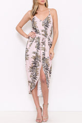 Sleeveless Palm Print Tie Waist Tulip Hem Midi Dress - Blush/Multi