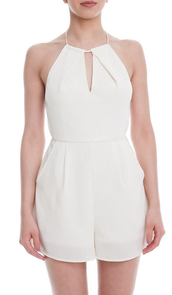 Sleeveless Notch Neck Open Cross Back Romper - Ivory