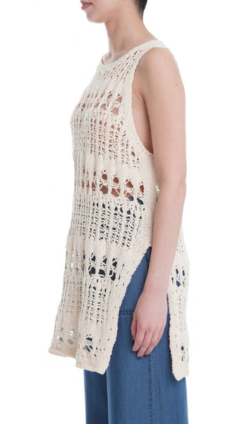 Sleeveless Open Knit Tunic Sweater - Cream
