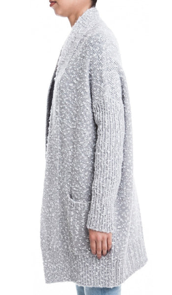 Cozy Open Front Tunic Cardigan Sweater with Pockets - Light Gray/Multi