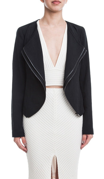 Double Layer Zipper Front Blazer Jacket - Black