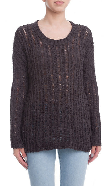 Textured Open Knit Sweater with Side Slits - Charcoal Gray