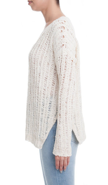 Textured Open Knit Sweater with Side Slits - Cream