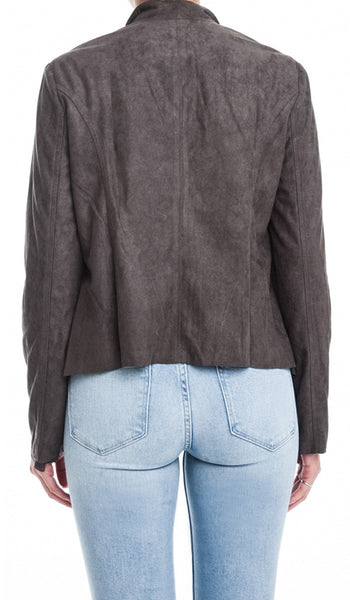 Drapey Oversized Collar Suede Jacket - Charcoal Gray