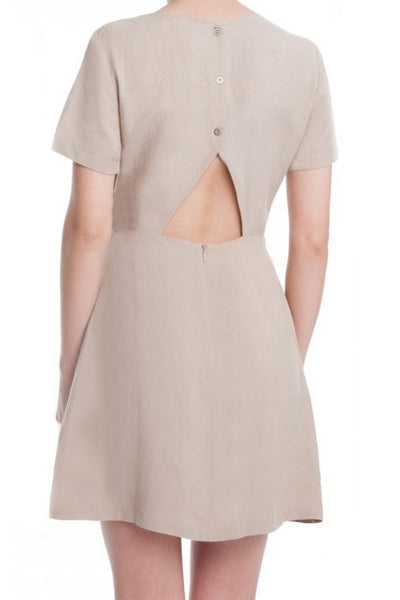 Short Sleeve Linen Side Tie Open Back Dress - Beige