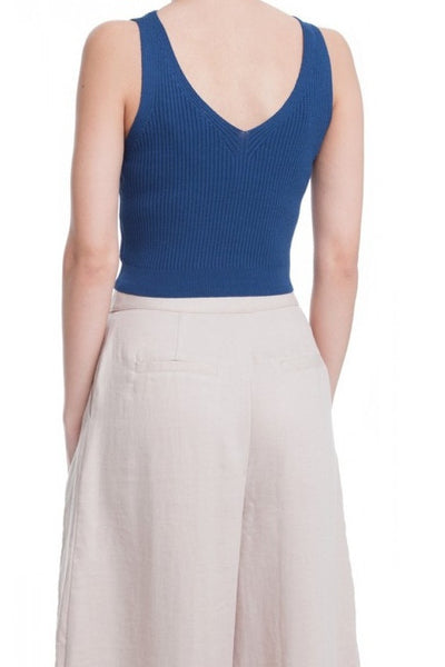 Ribbed Knit V-Neck Crop Top - Teal Blue