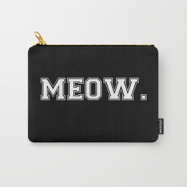 """Meow."" Block Print Zipper Pouch - Black/White"