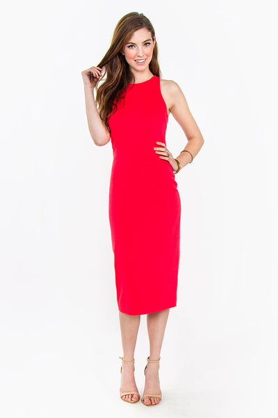 Simple Romance Sleeveless Back Cut Outs Midi Dress - Red