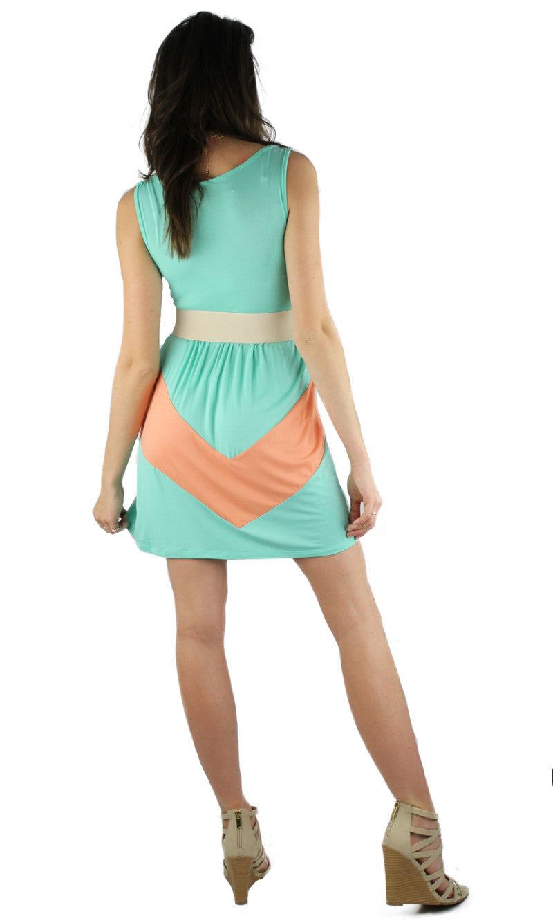 Sleeveless Chevron Short Dress - Mint/Apricot