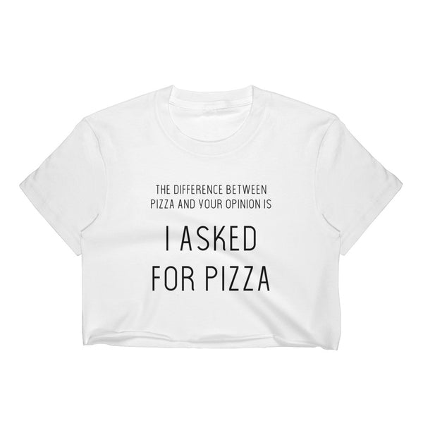 """I Asked for Pizza"" Crop Top Graphic Tee - White/Black"