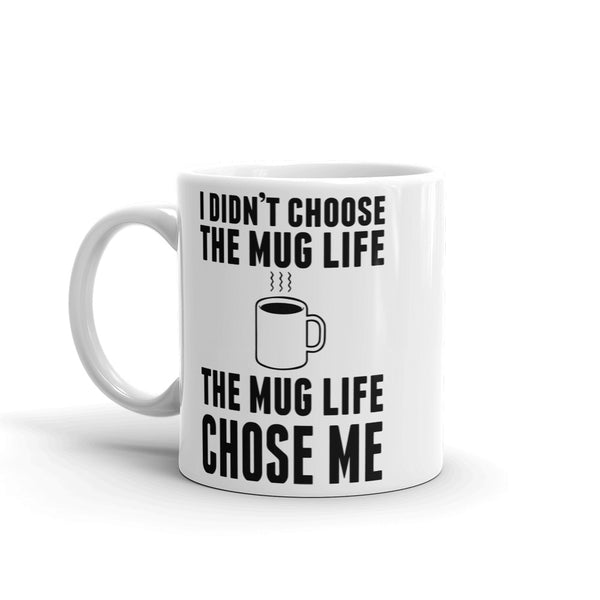 """Mug Life"" Graphic Print Ceramic Mug - White/Black"