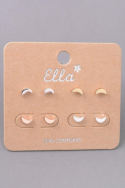 Mini Crescent Moon Stud Earrings Set - Mixed Metals