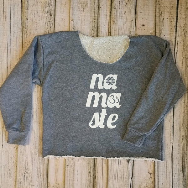 """Namaste"" Raw Edge Terry Graphic Sweatshirt - Heather Gray/White"