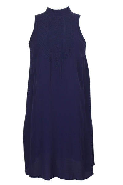 Sleeveless Mock Turtleneck Embroidered Suede Trapeze Dress - Navy Blue