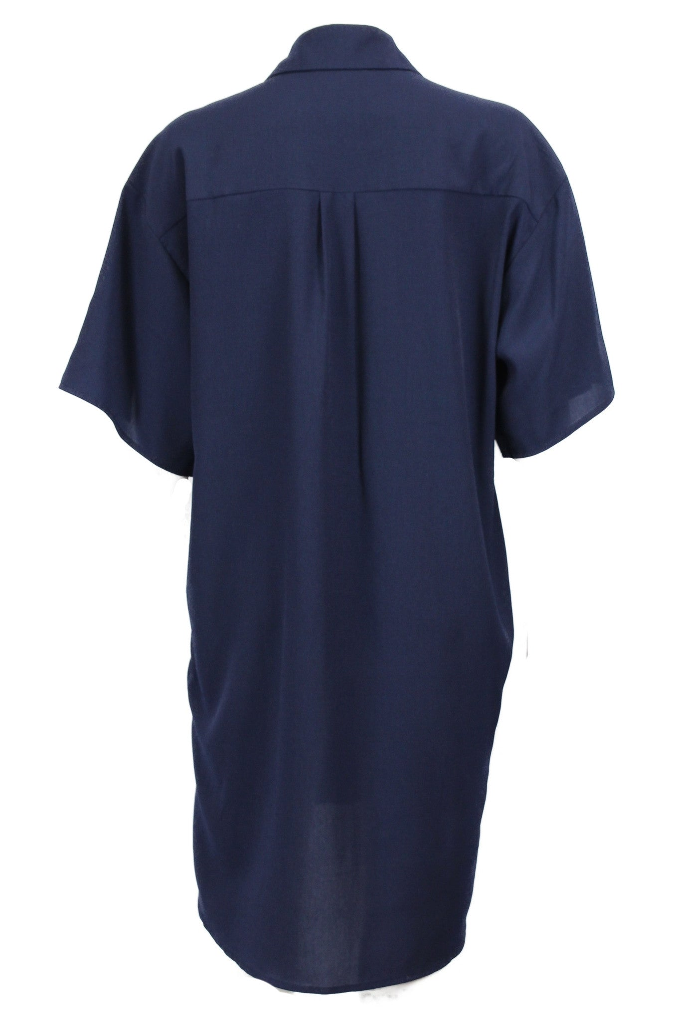 Prep School Half Sleeve Button Down Shirt Dress - Navy