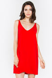 Aubrey Side Lace Up Low Back Slip Dress - Red
