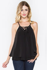 Allison Lace Up Front Sleeveless Top - Black