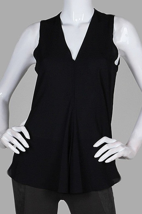 Sleeveless Draping Front Blouse - Black