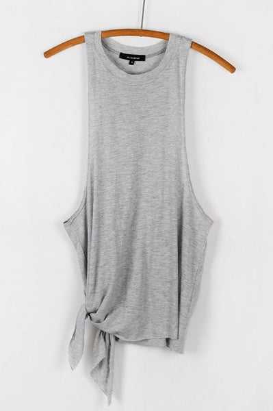 Sleeveless Side Tie Jersey Muscle Tank Top - Heather Gray