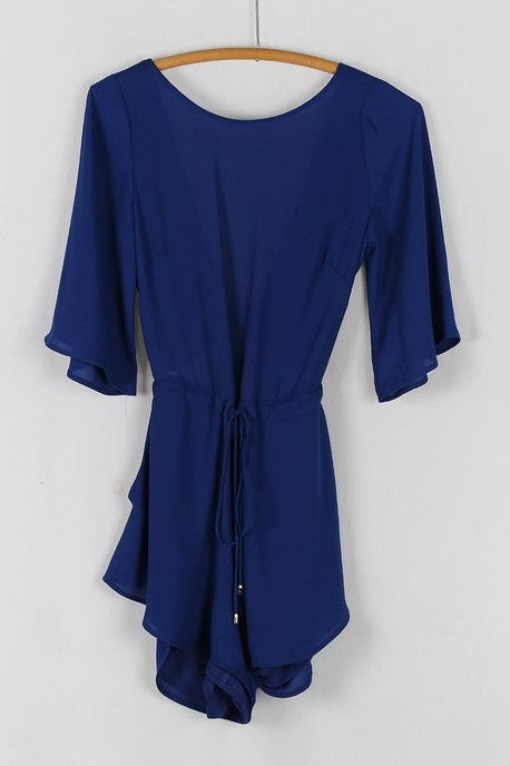 3/4-Sleeve Tie Back Romper - Navy Blue