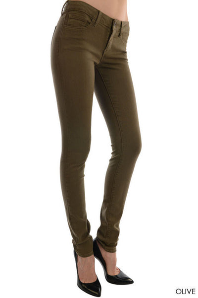 High Rise Stretch Skinny Jeans - Olive Green