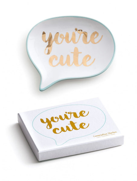 """Conversation Starters"" Speech Bubble Decorative Tray - ""You're Cute"" or ""OHMYGOD"""