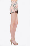Floral Print and Lace Pleated Front Shorts - Pink/Multi