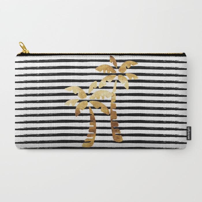 Palm Trees & Stripes Zipper Pouch - Gold/Black