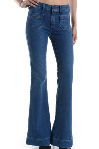 Patch Pocket High Waist Flare Jeans - Medium Wash