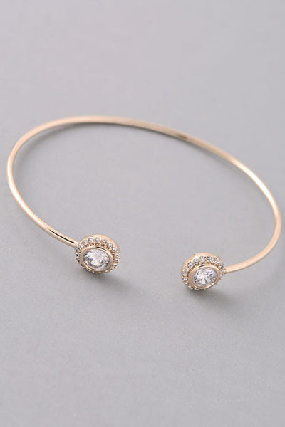 Pave Jewel End Dainty Cuff Bracelet - Gold