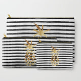 Pineapple & Stripes Zipper Pouch - Gold/Black