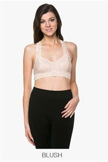 Lace Racer Back Bralette - Black, Ivory, Blush, Charcoal, Navy Blue or Dusty Aqua
