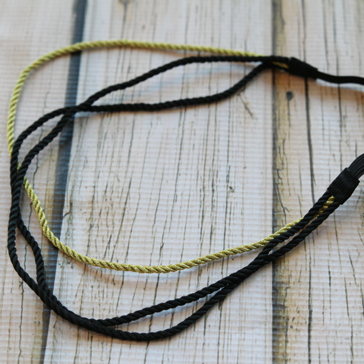 Triple Roman Braided Hair Wrap Headband - Black/Gold