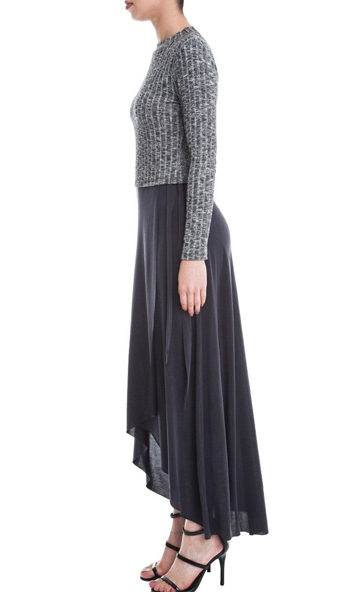 Wrap Front High Low Tie Waist Gauze Maxi Skirt - Black