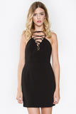 House of Cards Lace Up Front Party Dress - Black