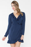 Clarisse Long Sleeve Ruffle Trim Wrap Dress - Navy Blue