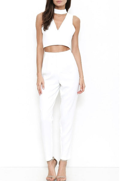 Skinny Leg Trouser Pants - White